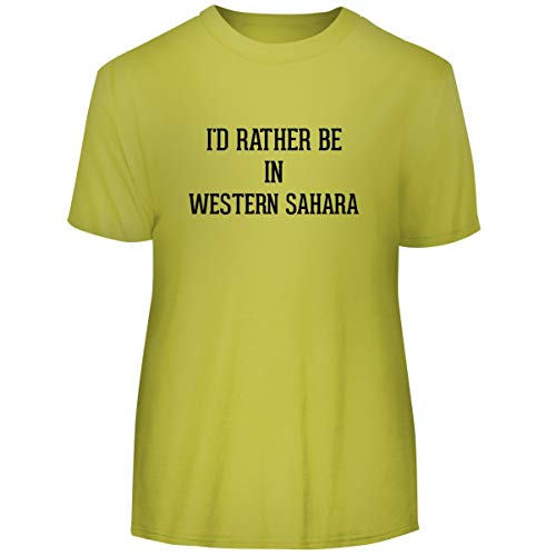 I'd Rather Be in Western Sahara - Men's Funny Soft Adult Tee T-Shirt, Yellow, XX-Large
