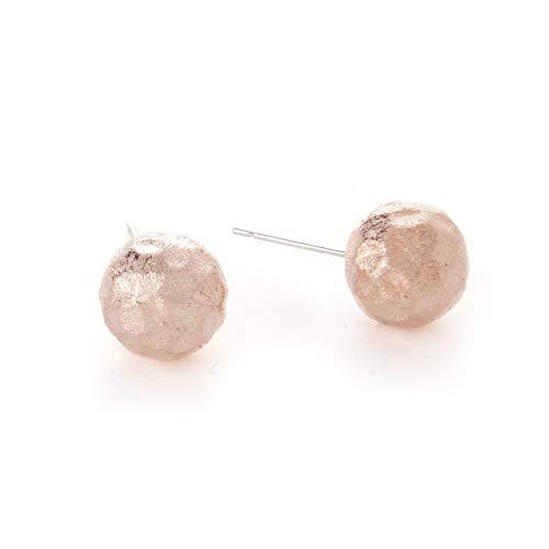 Rivka Friedman Rose Gold Hammered Satin Ball Stud Earrings