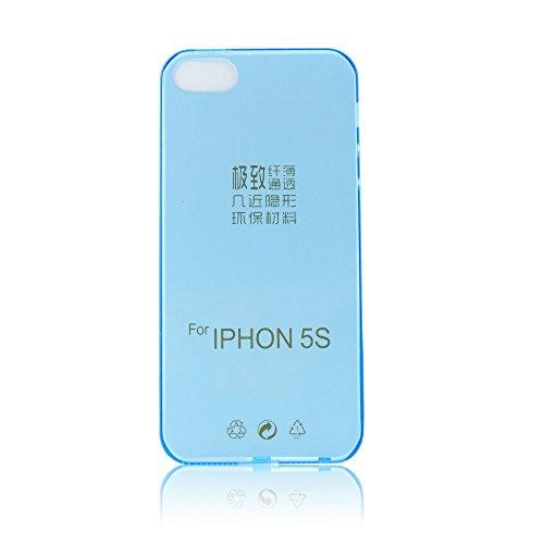 handy-point Ultra Dünn 0,3 mm Gummihülle Gummi Silikonhülle Silikon Schutzhülle Hülle für iPhone SE, 5, 5S Durchsichtig Transparent Blau