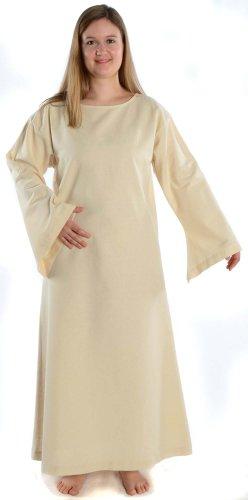 Leinenstruktur Baumwolle S naturbeige Damen mit mit Kleid Braun Mittelalter HEMAD XL Skapulier Beige reine wxP6qSa