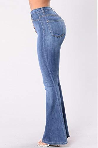 Et Pnats Flare Zojuyozio Pantalon Bootcut Taille Jeans Femmes Haute Lightblue Denim BwqYq8ZX