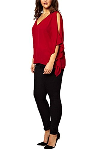 V-Neck Plus Size Batwing Sleeve Blouse Chiffon T-Shirt Top (Red) - 2