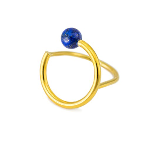 Minimalist Simple Dainty Lapis Lazuli Gemstone Pearl Finger Rings 14K Gold Plated Thin Cute Fashion Rings for Women Ladies Girls (Gold/Lapis Lazuli)
