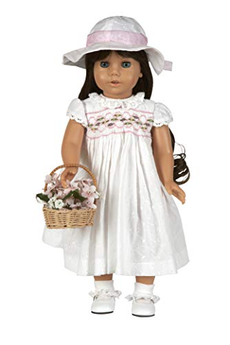 White Eyelet Smocked Dress. Complete Outfit with Shoes. Fits 18