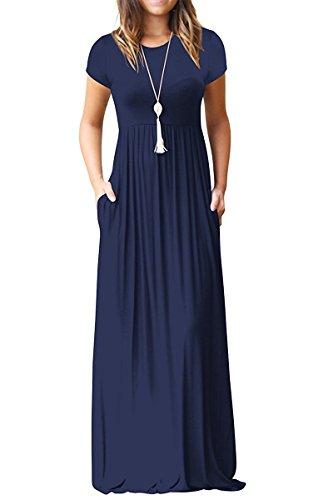 Kool Classic Women Short Sleeve Loose Plain Maxi Dresses Casual Long Dresses with Pockets Navy X-Large
