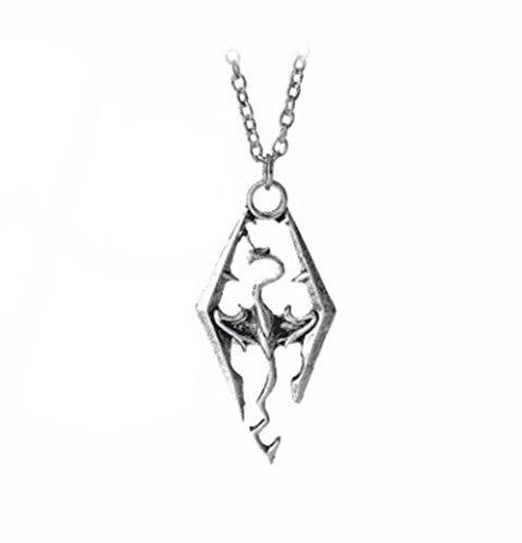 The Elder Scrolls SKYRIM Dragon Silvertone PENDANT/Necklace with 20