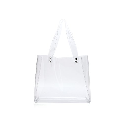Lam Gallery NFL Stadium Approved Clear Tote Bag Womens Clear Purse Handbags for Work PVC Transparent Bags(Horizontal Style) by LAM GALLERY