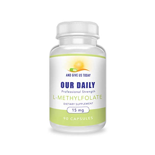 Our Daily Vites L-Methylfolate 15 mg 15000 mcg Maximum Strength Active Folate, 5-MTHF, Filler Free, Gluten Free, NON-GMO, Vegetarian Capsules 90 Count 3 Month Supply