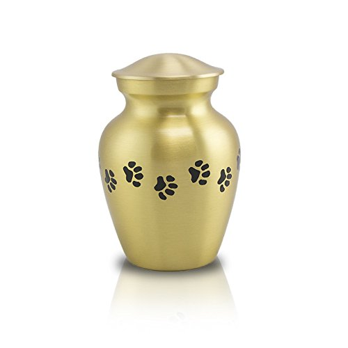 OneWorld Memorials Pet Paw Bronze Pet Urn Extra Small Holds Up to 25 Cubic Inches of Ashes Bronze gold Pet Cremation Urn for Ashes Engraving Sold Separately