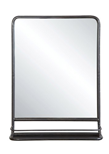 Creative Co-op Rectangle Metal Framed Wall Mirror with Shelf, Single Vanity, Black (Mirror Metal Framed)