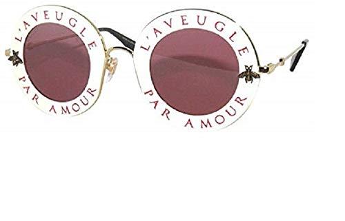 8464094894 Gucci GG0113S 002 Montures de Lunettes, Blanc (Ivory/Red), 44 Femme ...