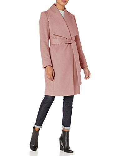 Cole Haan Women's Slick Wool wrap Coat, Dusty Rose, 8