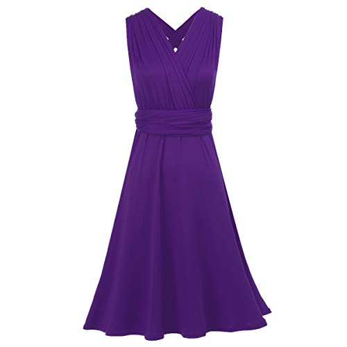 OBEEII Ladies Stunning Bridesmaid Formal Cocktail Wedding Party Sleeveless Backless Convertible Multi Way Wrap Short Dress Short Deep Purple ()