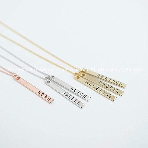 5290dd85ea3ad Mommy Necklace, Baby Name Vertical Bar Necklace, Personalized Bar Necklace,  Custom Name Necklace, Gold, Rose gold, Silver Bar, Mom Grandma Kids ...
