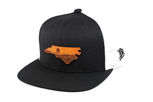 Blue Leather Ridge (Branded Bills North Carolina 'The Blue Ridge' Leather Patch Hat Flat Trucker - OSFA/Black/White)
