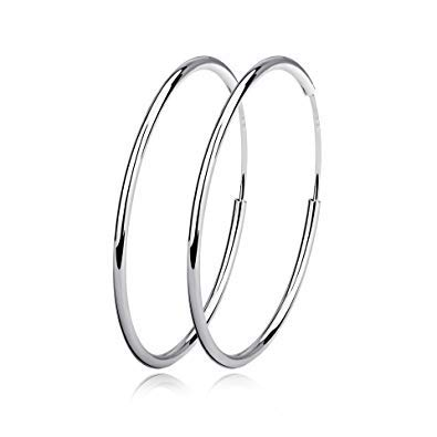 Fine 925 Sterling Silver Endless Round Hoop Sleeper Earrings + FREE Pearl Style Earring! Size (10mm 1cm)