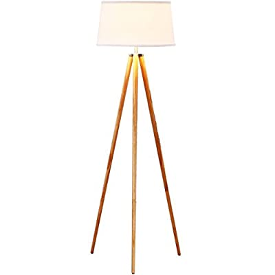 Brightech – Emma LED Tripod Floor Lamp – Classic Design for Contemporary or Traditional Living Rooms – Soft Ambient Lighting – includes Brightech's LightPro LED 9.5-Watt Bulb – White Shade