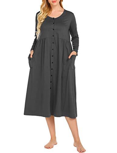 Ekouaer Button Front Maxi Nightgown Womens Plus Size Long Knit Lounger,Deep Grey,Large