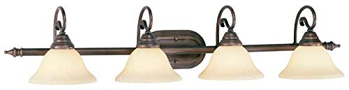 Livex Lighting 6124-58 Coronado - Four Light Bath Bar, Imperial Bronze Finish with Vintage Scavo Glass