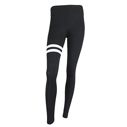 Y&L Mujeres Deporte Polainas De Ejercicios De Yoga Mallas De Correr De Fitness Cómodos Pantalones Negros Negro