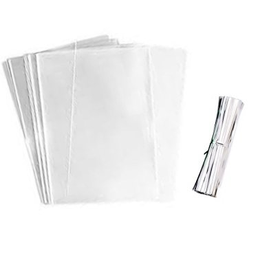 R2K 100 Clear Treat Bags 4x6 Cookie Bag Plastic Party Favor Bags With 100 Silver Twist Ties