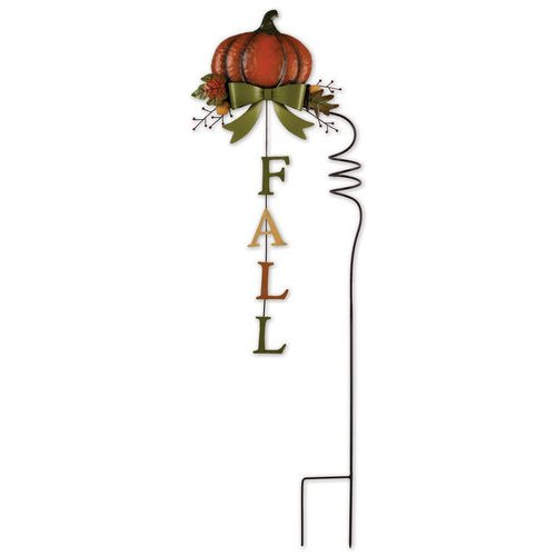 Sunset Vista Designs Painted Metal Pumpkin Garden Stake with Fall Sign, 40''