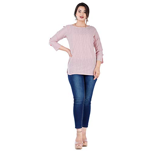 CALLA ANON Casual 3/4 Sleeve Striped Women Maroon Top