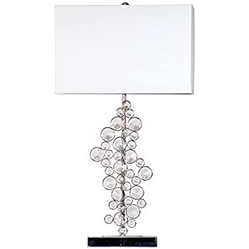 Elegant Designs LT1027-CHR Sequin and Chrome Table Lamp with Prismatic Crystals