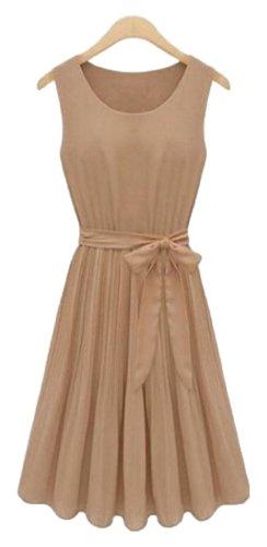 Women Sleeveless Lace Chiffon Dresses (Khaki) - 2