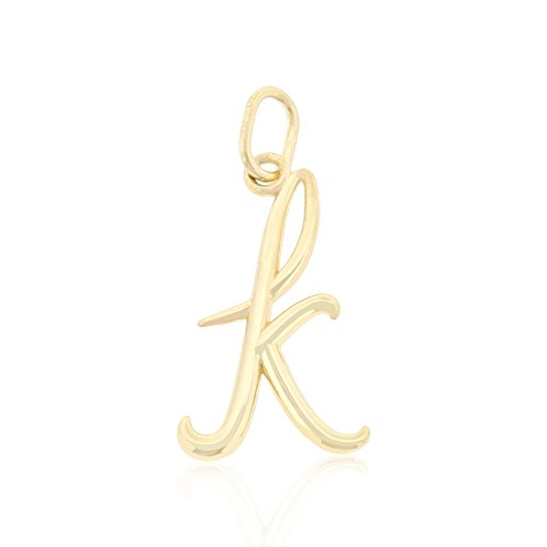 Small Letter Initial K Charm Pendant, 10k Yellow Gold (Initial Gold Yellow Pendant Small)