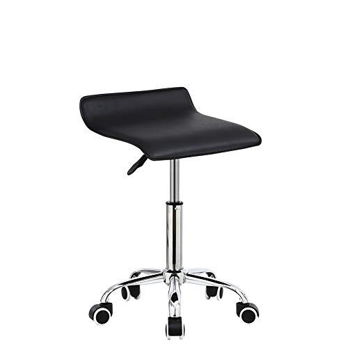KKTONER Square Rolling Stool PU Leather Height Adjustable Swivel Massage SPA Salon Stools Task Chair with Wheels Back