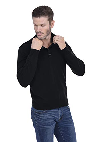 (Cashmeren Men's Cashmere Wool Button Mock-Neck Classical Fashion Polo Collar Sweater Pullover (Black,)