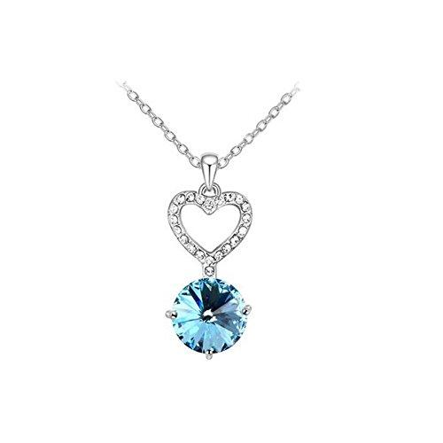 Collier coeur cristal swarovski elements bleu turquoise plaqué or blanc