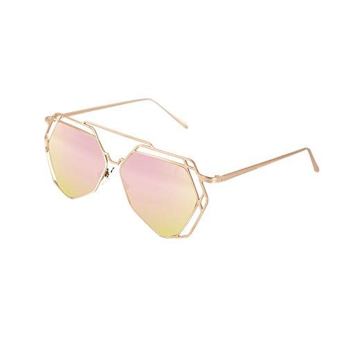 HoShip Mirrored Flat Lenses Street Fashion Metal Frame Women Sunglasses(Pink)