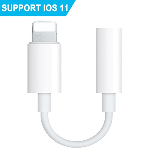 Headphone Adapter for iPhoneX 10 8 7 Plus iPhone 6 6s 5 5s &ipod&ipad. Female 3.5mm Audio Earbuds Jack Adaptor Connecter. Earphone Extender Stereo Cable Converter(Support 11 System) (white)