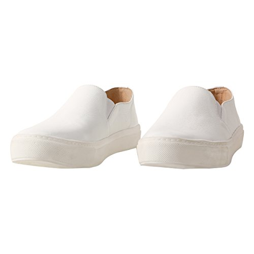 TONGPU Womens Casual Footwear Faux Leather Slip On Loafer Shoes White B7FjN