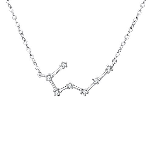"BriLove 925 Sterling Silver Necklace -""Taurus"" Constellation Zodiac 12 Horoscope Astrology Women CZ Pendant Necklace Birthday Gift Clear April Birthstone"