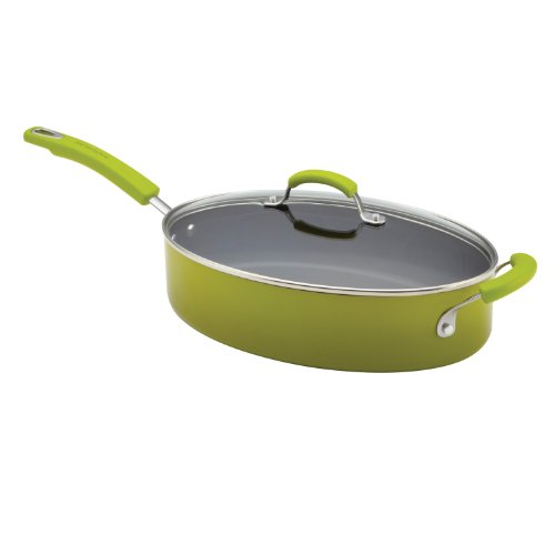 Rachael Ray Porcelain Enamel II Nonstick 5-Quart Covered Oval Saute, Green - Saute Pan Oval