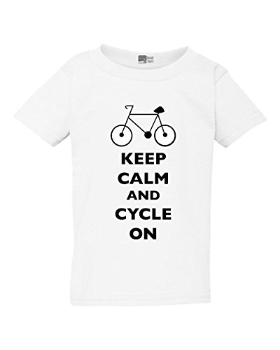 T-shirt Pms Girls (Keep Calm and Cycle On Cyclist Bicycle Toddler Kids T-Shirt Tee (4T, White w/Black))