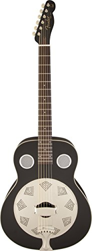 Fender Acoustic Guitars Folk Music Instruments 955006006 Top Hat Reso-Phonic Guitar, Black