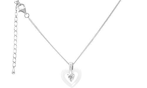 Stella Maris - STMJ6-169w Collier Femme Argent 925 avec Pendentif Diamant Zircon Cœur Céramique Blanc 45 cm