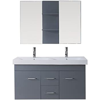 48 double sink vanity lowes white um gr modern inch bathroom set polished chrome faucet grey without top