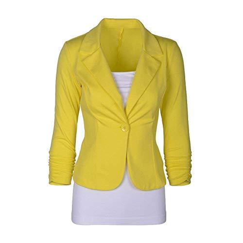 Business Primaverile Gelb Glamorous Button Camicia Con Donna Giacca Sottile Monocromo Autunno Tailleur Blazer Manica Da Lunga Ufficio Giacche Bavero Semplice 47HqTxxY