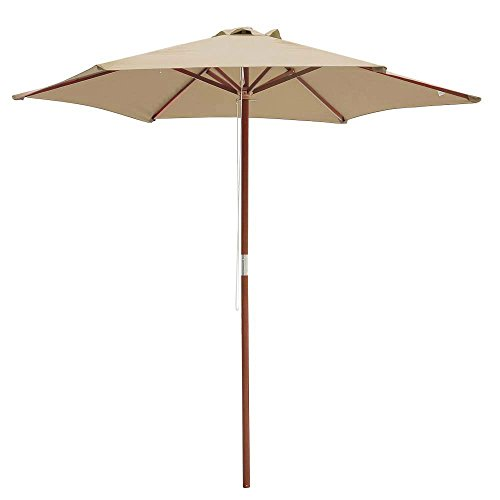 Sun Shade Lawn 8 Ft Wooden Umbrella Wood Pole Outdoor