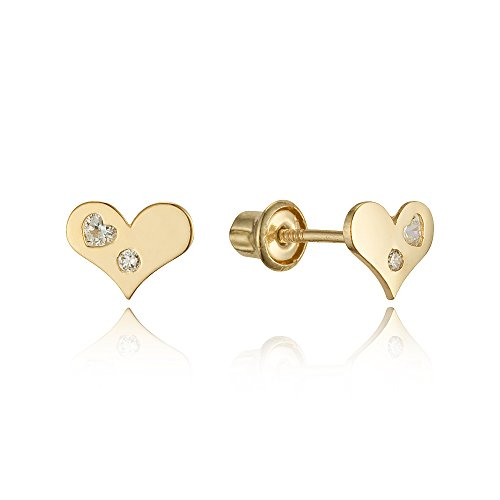 14k Yellow Gold Heart Cubic Zirconia Children Screwback Baby Girls Stud Earrings 14k Yellow Gold Baby Earrings