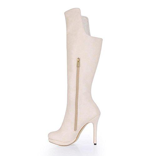 Rubber Best Heels Stiletto 4U® PU Sole punta 12 mujeres Zippe las High Premium Invierno Albaricoque De redonda CM rrqPR