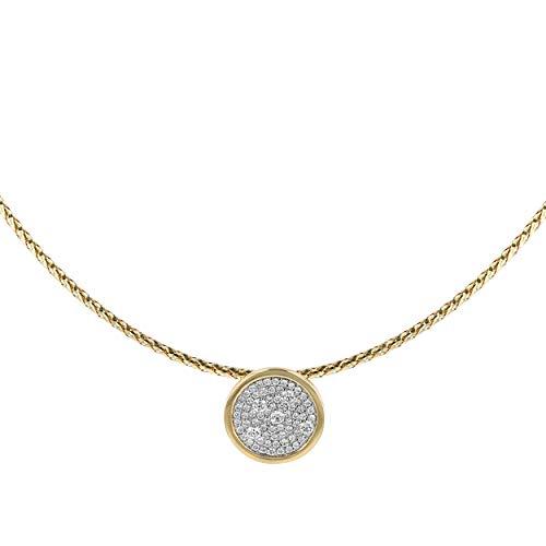 (14k Yellow Gold Diamond Circle Pendant Choker Necklace (H-I Color, I1 Clarity), 16