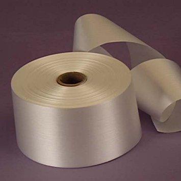 White Embossed Poly Satin Ribbon, 2-3/4