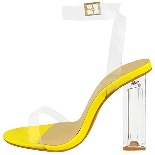Claro Transparente Heelberry Thirsty Sandalias Fashion Tiras Tacón Amarillo Perspex Neón Fiesta Alto Rosa De Mujer Por En Charol Bloque qItaqwdA