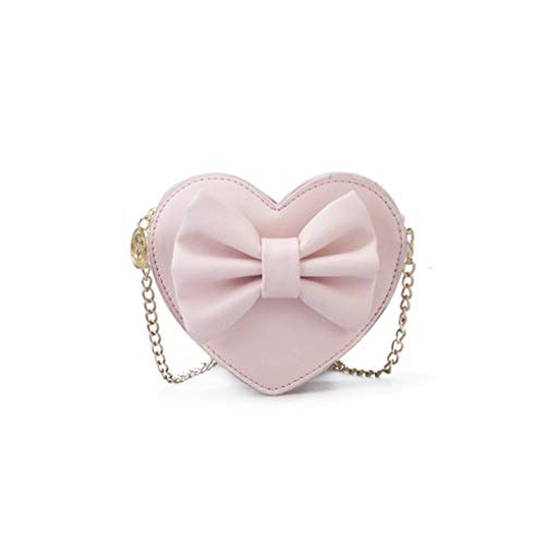 (Amily Mini Heart Shape Crossbody Handbag Coin Change Purse Pouch with Bowknot Decoration for Little Girls (Pink))